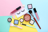 Makeup cosmetics on colorful background - 221159812