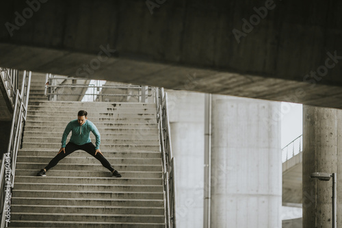 Young man exercise in urban environment