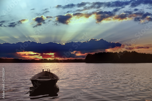 Foto Murales zachód słońca nad jeziorem