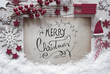 Red Christmas Decoration, Snow, Calligraphy Merry Christmas