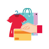colorful dress clothes and hand with credit card - 221180482