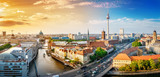 panoramic view at the berlin city center at sunset - 221180840