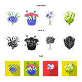 A bouquet of fresh flowers cartoon,black,flat icons in set collection for design. Various bouquets vector symbol stock web illustration.