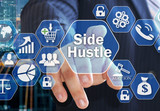 The businessman chooses the Side Hustle  on the virtual screen in the business network connection. - 221182645