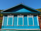 Typical Siberian wooden houses - 221184408