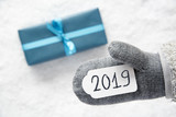 Turquoise Gift, Gray Glove, Text 2019, Snow Background