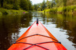 Kayaking, canoeing on the river in the middle of the summer. Sports, leisure and recreation in the wild nature.