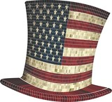 Cylinder with USA flag - Illustration,  American hat,  Uncle Sam,    Mosaic hat in America - 221189872