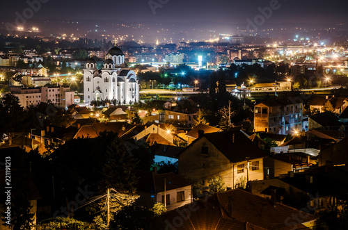 Valjevo cityscape at night - 221191213