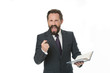 Successful businessman create motivational inspiring speech isolated white. Businessman planning business schedule with notepad. Time management and organizing skill. Man bearded manager create plan