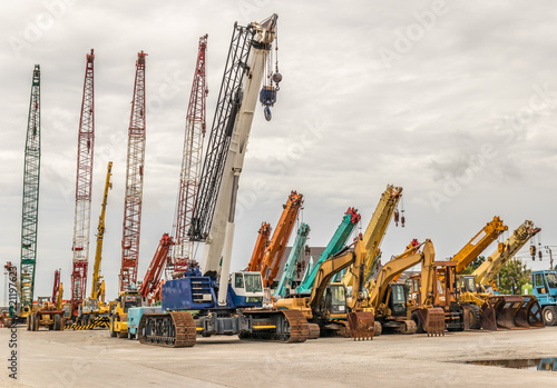 Foto Murales Heavy Machinery crane construction tool for building industry