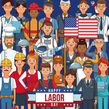 Happy labor day card with people professions and jobs cartoons vector illustration graphic design - 221203637