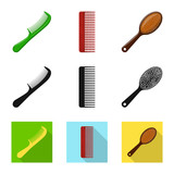 Vector illustration of brush and hair symbol. Collection of brush and hairbrush stock vector illustration. - 221209276