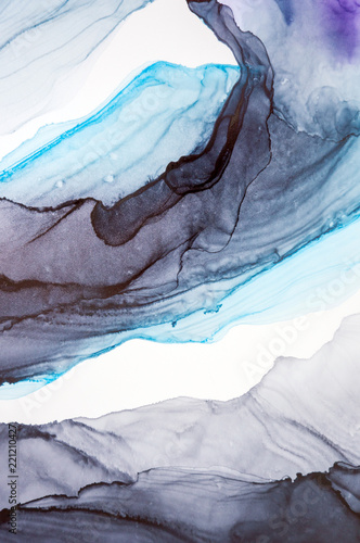 Ink, paint, abstract. Closeup of the painting. Colorful abstract painting background. Highly-textured oil paint. High quality details. Alcohol ink modern abstract painting, modern contemporary art. - 221210427