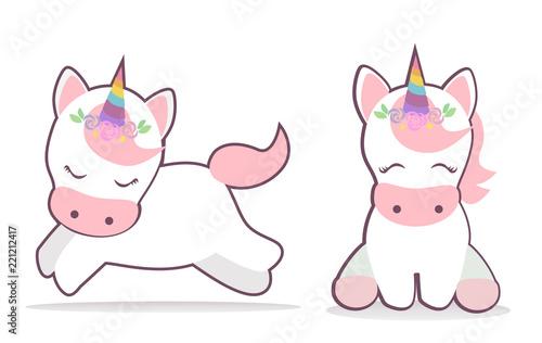 Cute unicorn set vector. Kawaii style illustration.