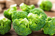 Broccoli. Fresh broccoli on wooden background