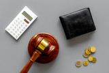 Financial failure, bankruptcy concept. personal bankruptcy. Judge gavel, wallet, coins, calculator on grey background top view