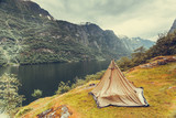 Mountains landscape and fjord in Norway - 221227470