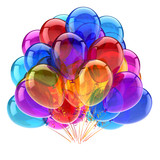 party balloons bunch multicolored. colorful birthday decoration. entertainment, carnival, anniversary celebration symbol. 3d illustration - 221229687