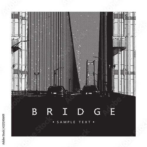 Fridge magnet Mackinac Bridge - famous architectural construction in Michigan. Beautiful vector illustration of a long steel suspension bridge, architecture located in North America.