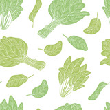 Spinach graphic green color seamless pattern background sketch illustration vector - 221243226