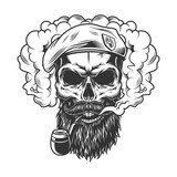 Skull in smoke cloud - 221243421