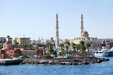 Panorama with view of central part of Hurghada. Tropical resort - 221247428