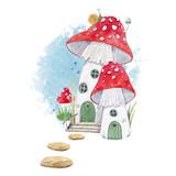 Watercolor mushroom house illustration - 221247448