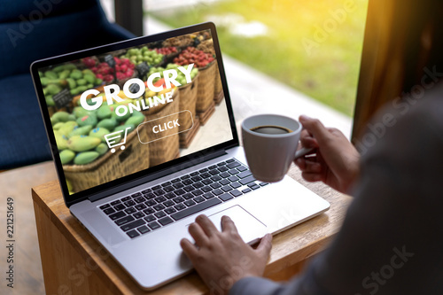 Close up woman ordering food online  by internet  Concept order food - 221251649