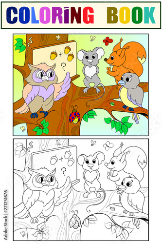 Lesson in the school of an owl in the woods coloring and color book for children cartoon raster illustration - 221251676
