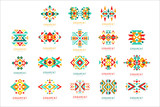 Colorful geometric ornament set, abstract logo elements vector Illustrations - 221252672