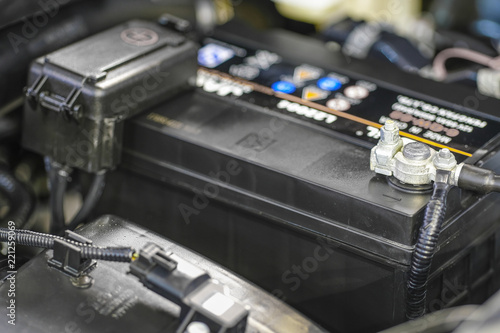 Car electric battery close up - 221259069