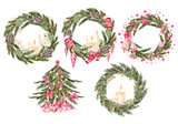 Set with 4  watercolor Christmas wreaths and christmas tree.  - 221263868