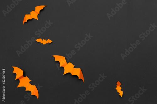 Leinwanddruck Bild halloween and decoration concept - paper bats flying
