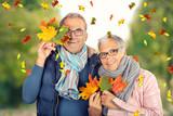 lebensfrohes Seniorenpaar im Herbst - 221266459