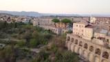 Antico castello Feudale difensivo con torre e mura di un piccolo borgo cittadino sulle montagne che si affaccia dal Mediterraneo. Ardore, vista aerea.  - 221275856