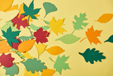 flat lay with colorful papercrafted foliage arranged on yellow background - 221276091