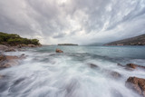 Dramatic sunset seascape before storm, Lapad bay a part of Dubrovnik, Dalmatia, Croatia