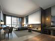 3d render of luxury modern hotel room