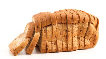 bread sliced isolated on white