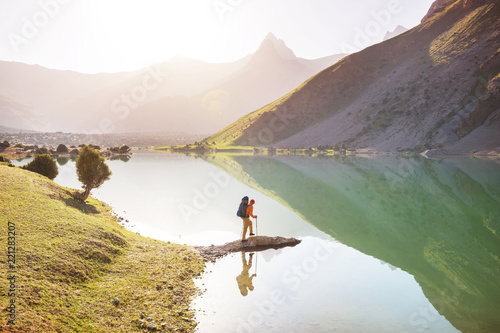 Leinwanddruck Bild Hike in Fann mountains