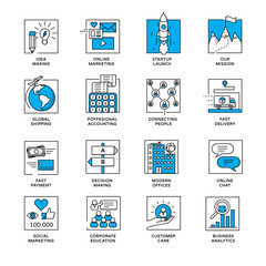 Corporate web icons - online services. Modern business linear style infographic icons.