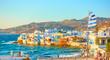 Leinwandbild Motiv Mykonos town with and Little Venice district