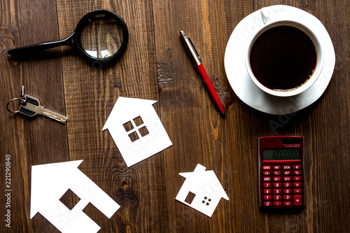 concept of buying house on wooden background top view - 221290840