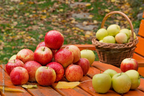 Red apples on the table in garden - 221292027
