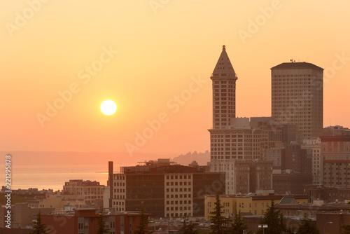 Downtown Seattle at sunset, Washington State, USA