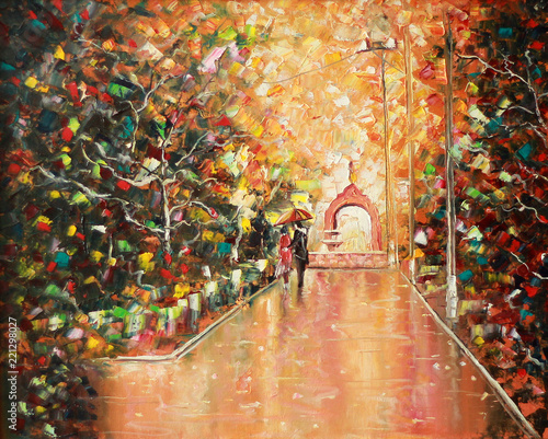 Architectural arch. Painting. Painting with oil paints