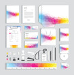 Corporate identity design template with colorful polygonal pattern - 221301494