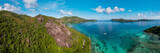 Praslin Seychelles Aerial view bay with catamaran - 221303089