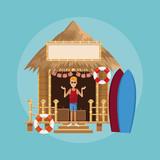 Beach kiosk cartoon - 221305460